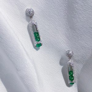 Zeemou Zeng White Gold & Green Chalcedony Melody Earrings